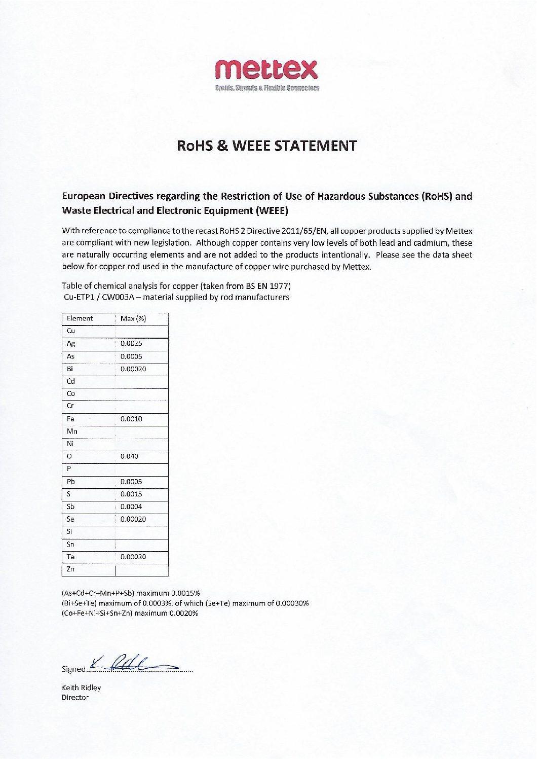 rohs statement 2018 pdf mettex. Black Bedroom Furniture Sets. Home Design Ideas